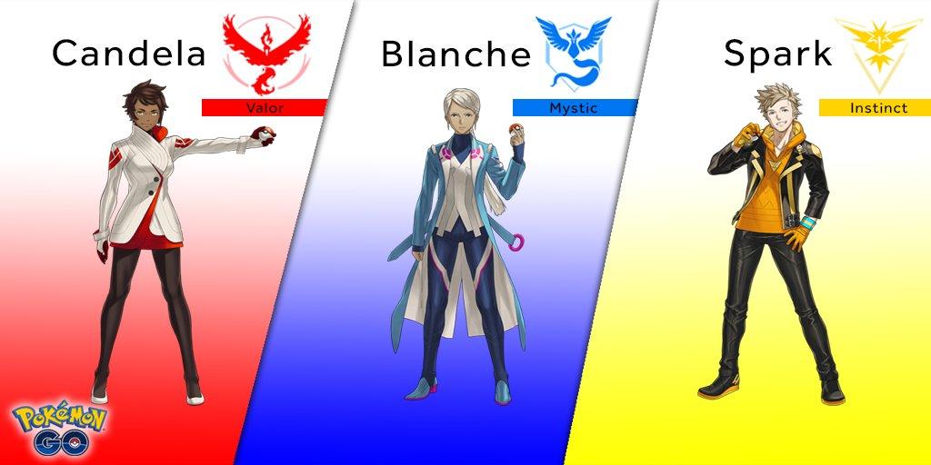 I leader dei tre team di Pokemon Go