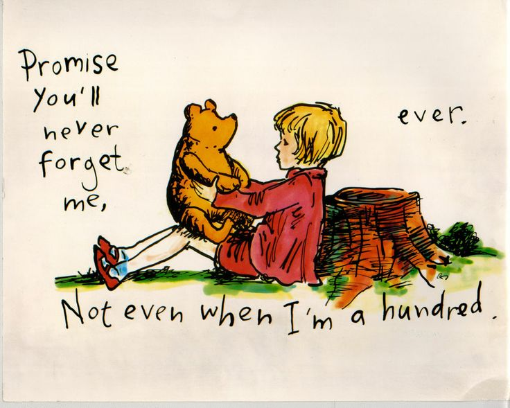Illustrazione originale Winnie The Pooh e Christopher Robin